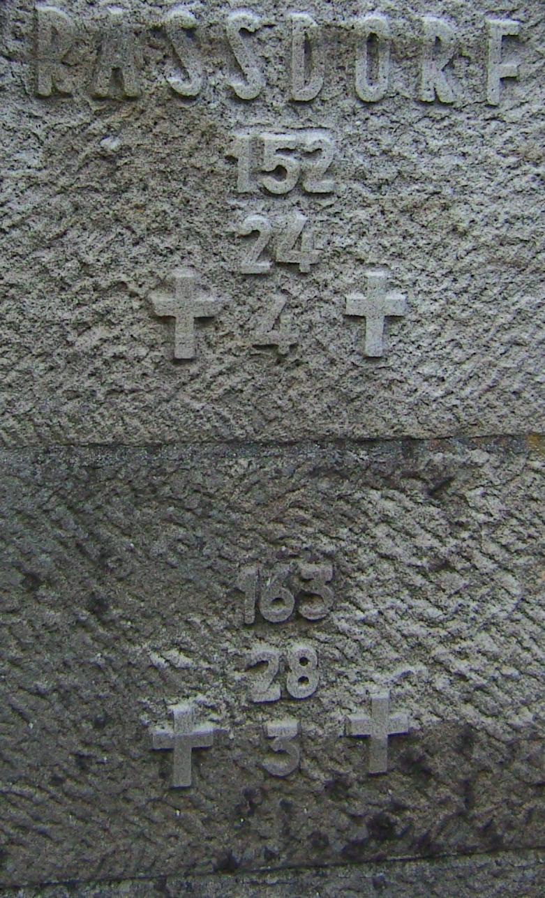 Auf dem Stein am Mahnmal bei Alheim finden wir die Einwohner zum Zeitpunkt der Kriege, die eingezogenen Soldaten sowie die Opfer der entsetzlichen Kampfeshandlungen.